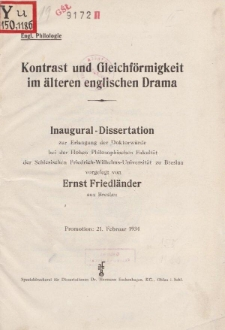 Kontrast und Gleichförmigkeit im älteren englischen Drama