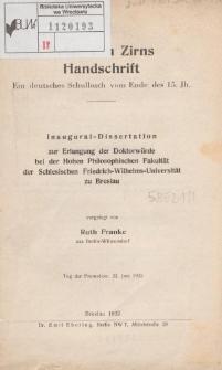Peter van Zirns Handschrift : ein deutsches Schulbuch vom Ende des 15. Jh.