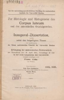 Zur Histologie und Histogenese des corpus luteum und des interstitiellen Ovarialgewebes.