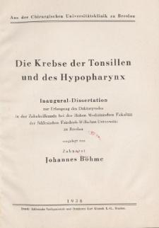 Die Krebse der Tonsillen und des Hypopharynx.