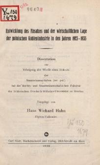 Entwicklung des Absatzes und der wirtschaftlichen Lage der polnischen Kohlenindustrie in den Jahren 1923-1935