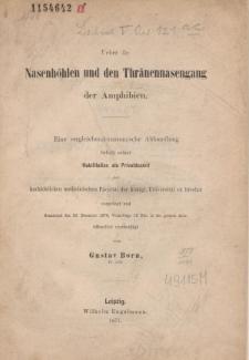 Ueber die Nasenhöhlen und den Thränennasengang der Amphibien.