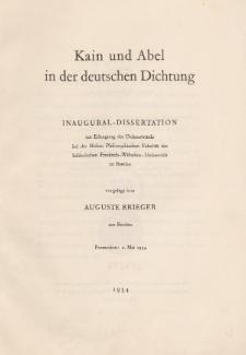 Kain und Abel in der deutschen Dichtung.