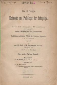 Beiträge zur Histologie und Pathologie der Zahnpulpa.
