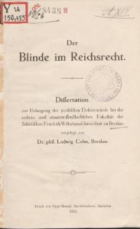 Der Blinde im Reichsrecht.