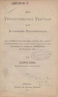 Der Versicherungs-Vertrag nach Allgemeinen Rechtsprinzipien.