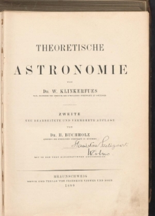 Theoretische Astronomie von Dr. W. Klinkerfues