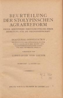 Beurteilung der stolypinschen Agrarreform : unter besonderer Berücksichtigung ihrer Bedeutung für die Feldgemeinschaft.
