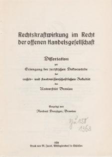 Rechtskraftwirkung im Recht der offenen Handelsgesellschaft.