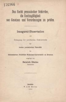 Das Recht preussischer Behörden, die Rechtsgiltigkeit von Gesetzen und Verordnungen zu prüfen.
