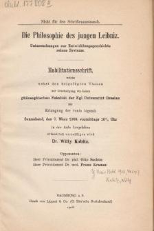 Die Philosophie des jungen Leibniz : Untersuchungen zur Entwicklungsgeschichte seines Systems
