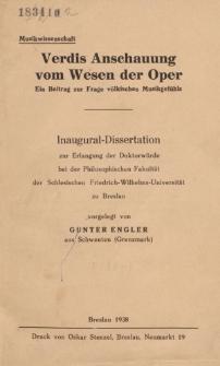 Verdis Anschauung vom Wesen der Oper : ein Beitrag zur Frage völkischen Musikgefühls.