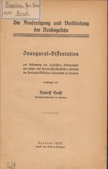Die Ausfertigung und Verkündung der Reichsgesetze.