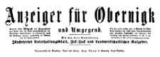 Anzeiger für Obernigk und Umgegend 1918-11-02 Jg. 26 Nr 88
