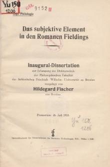 Das subjektive Element in den Romanen Fieldings.