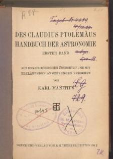 Des Claudius Ptolemäus Handbuch der Astronomie. Bd.1