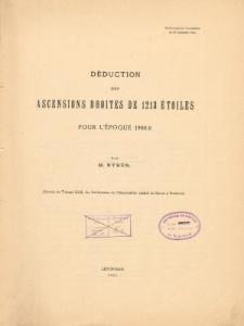 Déduction des ascensions droites de 1213 étoiles pour l'époque 1900.0