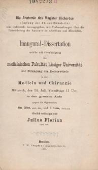 Die Anatomie des Magister Richardus : (Anfang des 14. Jahrhunderts) : zum erstenmale herausgegeben, mit Vorbemerkungen über die Entwickelung der Anatomie im Alterthum und Mittelalter.