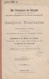 Über Erkrankungen des Sehorgans im Gefolge von Influenza, nach eigenen Beobachtungen und der Litteratur zusammengestellt.