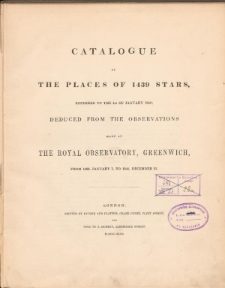Catalogue of the places of 1439 stars
