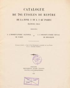 Catalogue de 784 étoiles de repére de la zone +18° a +24° (Paris)