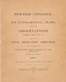 Five-year Catalogue, of 258 fundamental stars