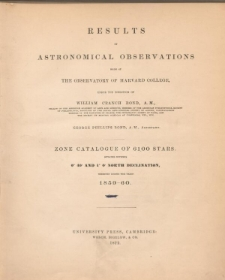 Results of astronomical observations made at the Observatory of Harvard College