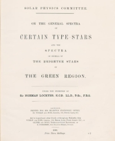 On the general cpectra of certain type-stars and the spectra of several of the brighter stars in the green region