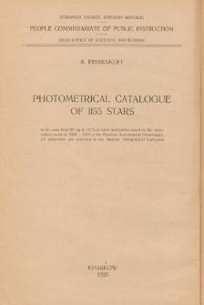 Photometrical catalogue of 1155 stars