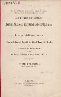 Ein Beitrag zur Therapie des Morbus Addisonii mit Nebennierenpräparaten.