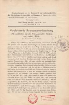 Vergleichende Strassennamenforschung. Mit Ausblicken auf die Sittengeschichte Breslaus und anderer Städte
