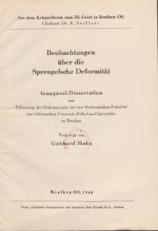 Beobachtungen über die Sprengelsche Deformität / vorgelegt von Gebhard Hahn.